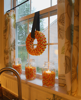 candy corn window display